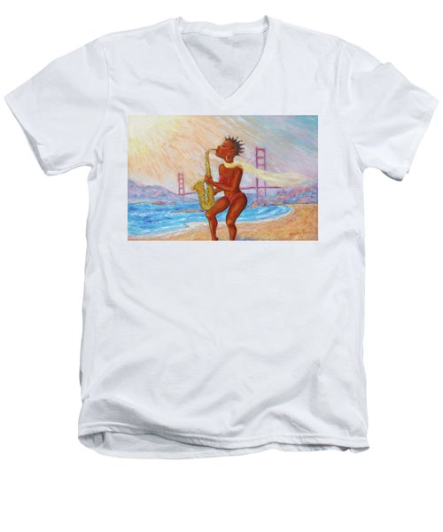 Men's V-Neck T-Shirt featuring the painting Jazz San Francisco by Xueling Zou