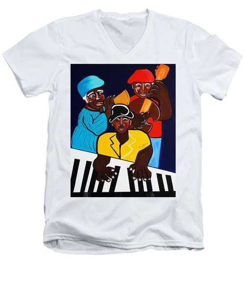 Jazz Sunshine Band Men's V-Neck T-Shirt by Nora Shepley