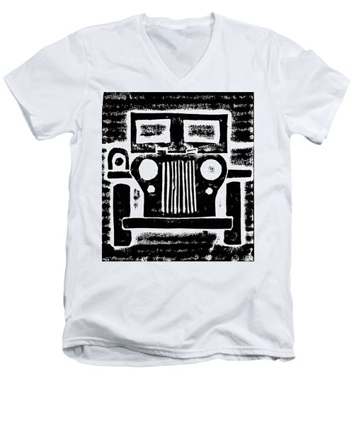 Men's V-Neck T-Shirt featuring the mixed media Jeep by Jame Hayes