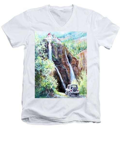 Men's V-Neck T-Shirt featuring the painting Jeeping At Bridal Falls  by Linda Shackelford