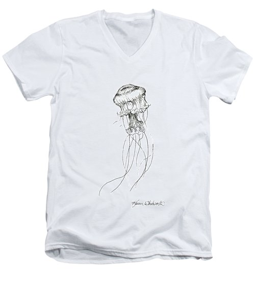 Jellyfish Sketch - Black And White Nautical Theme Decor Men's V-Neck T-Shirt