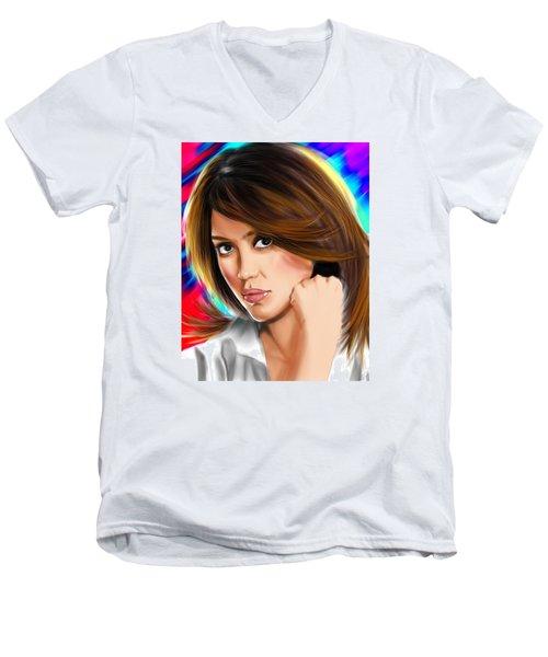 Jessica Alba Men's V-Neck T-Shirt by Isaac Martinez