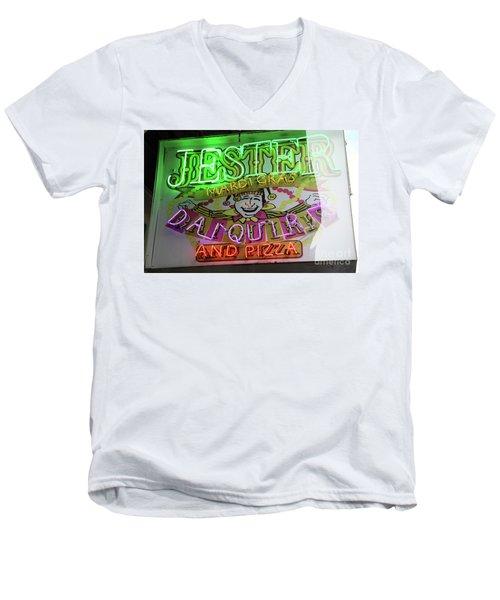 Jester Mardi Gras Sign Men's V-Neck T-Shirt