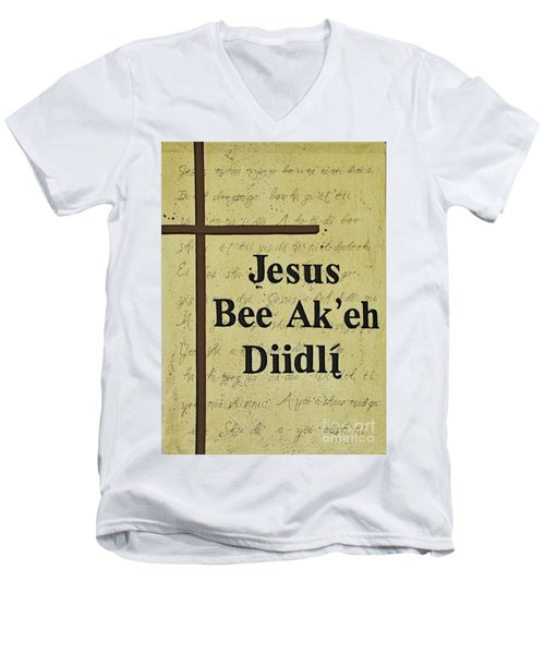 Men's V-Neck T-Shirt featuring the photograph Jesus Bee Ak'eh Diidli by Debby Pueschel