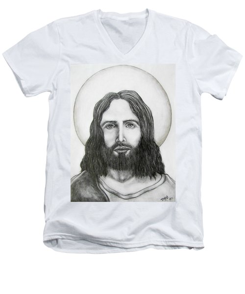 Men's V-Neck T-Shirt featuring the drawing Jesus Christ by Michael  TMAD Finney