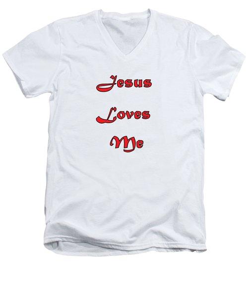 Jesus Loves Me Men's V-Neck T-Shirt by Judy Hall-Folde
