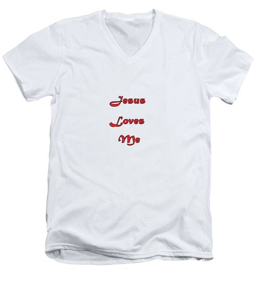 Jesus Loves Me Men's V-Neck T-Shirt