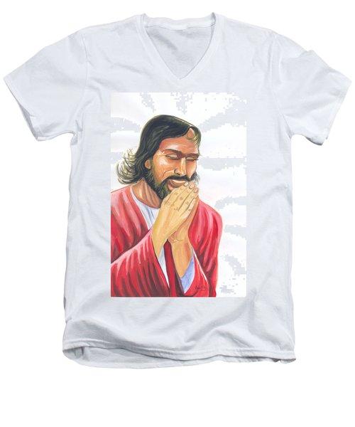 Men's V-Neck T-Shirt featuring the painting Jesus Praying by Emmanuel Baliyanga