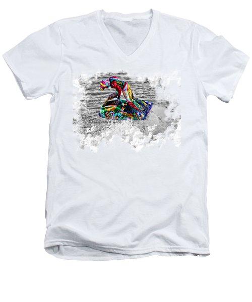 Jet Ski On Transparent Background Men's V-Neck T-Shirt by Terri Waters