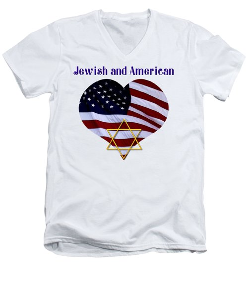 Jewish And American Flag With Star Of David Men's V-Neck T-Shirt by Rose Santuci-Sofranko