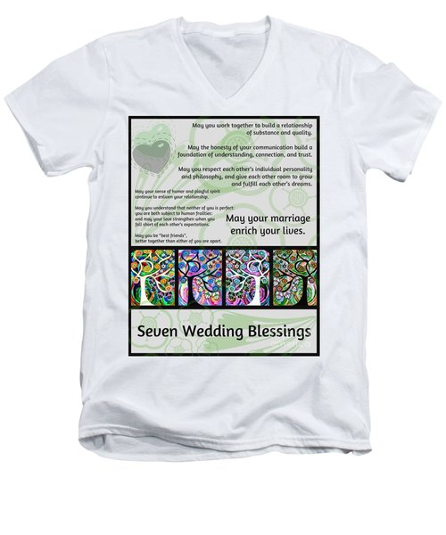 Jewish Seven Wedding Blessings Tree Of Life Hamsas Men's V-Neck T-Shirt by Sandra Silberzweig