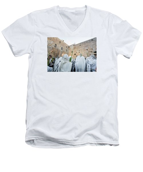Jewish Sunrise Prayers At The Western Wall, Israel 10 Men's V-Neck T-Shirt