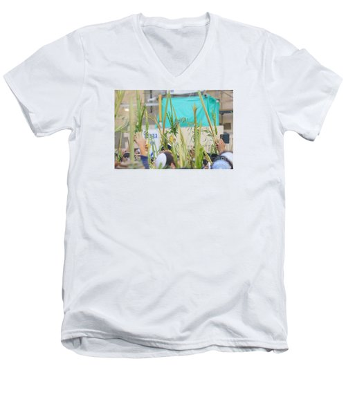 Jewish Sunrise Prayers At The Western Wall, Israel 13 Men's V-Neck T-Shirt