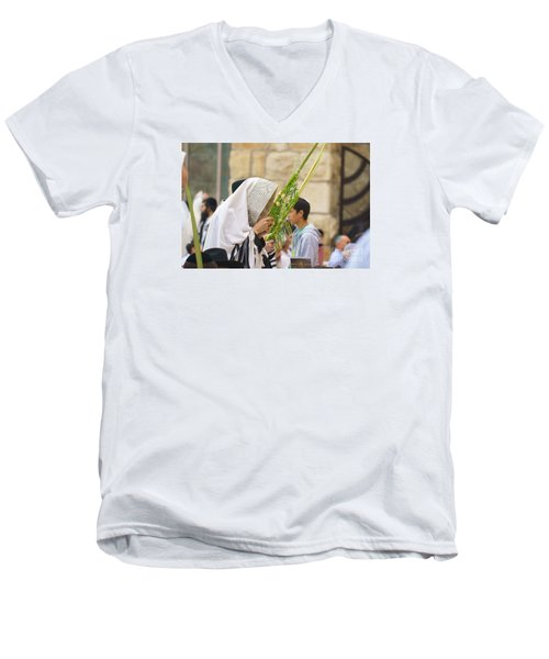 Jewish Sunrise Prayers At The Western Wall, Israel 6 Men's V-Neck T-Shirt