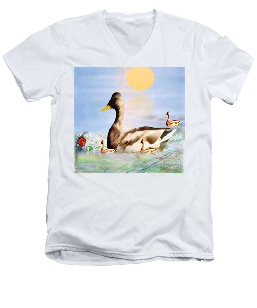 Jhot Summer Day Men's V-Neck T-Shirt by Belinda Threeths