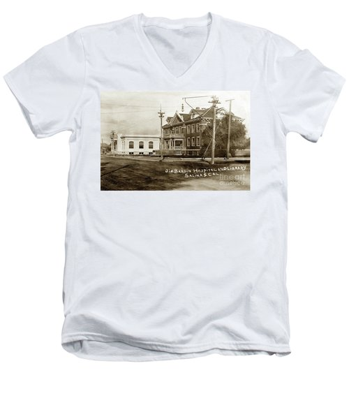 Jim Bardin Hospital The Hospital Was Located On The E Side Of Main Street  Circa 1910 Men's V-Neck T-Shirt