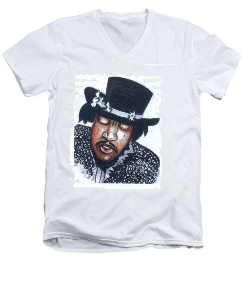 Men's V-Neck T-Shirt featuring the painting Jimi Hendrix by Emmanuel Baliyanga