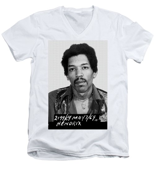 Jimi Hendrix Mug Shot Vertical Men's V-Neck T-Shirt