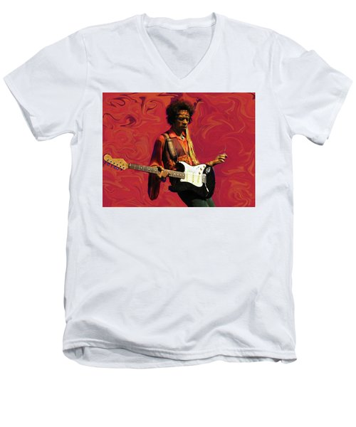 Men's V-Neck T-Shirt featuring the photograph Jimi Hendrix Purple Haze Red by David Dehner