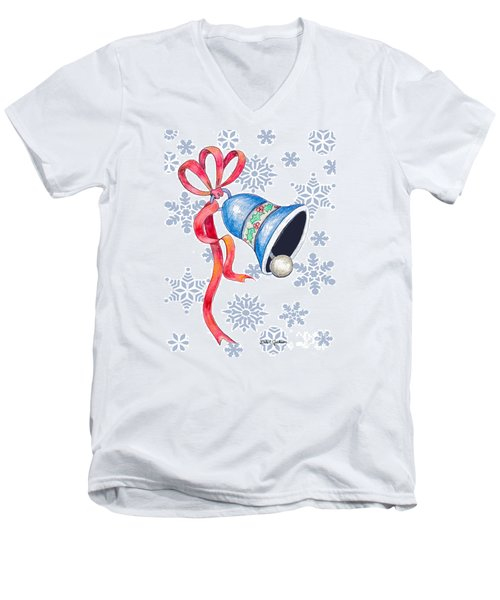 Jingle Bells And Snowflakes On Christmas Day Men's V-Neck T-Shirt