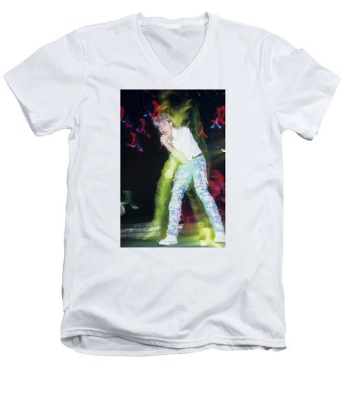 Joe Elliott Of Def Leppard Men's V-Neck T-Shirt by Rich Fuscia