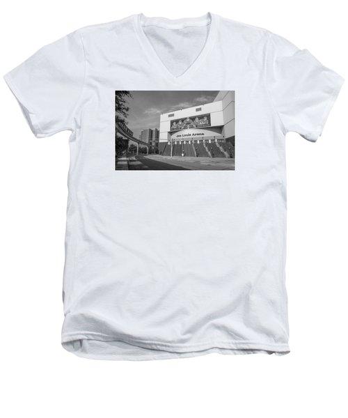 Joe Louis Arena Black And White  Men's V-Neck T-Shirt by John McGraw