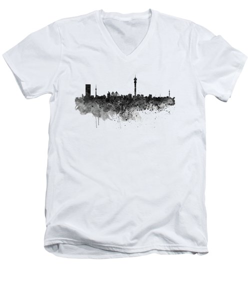 Johannesburg Black And White Skyline Men's V-Neck T-Shirt