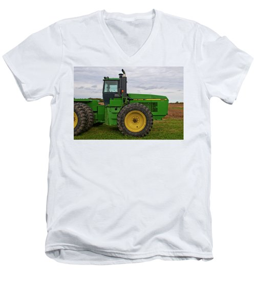 Men's V-Neck T-Shirt featuring the photograph John Deere Green 3159 by Guy Whiteley