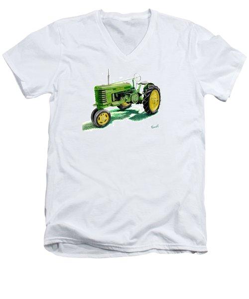 John Deere Tractor Men's V-Neck T-Shirt by Ferrel Cordle