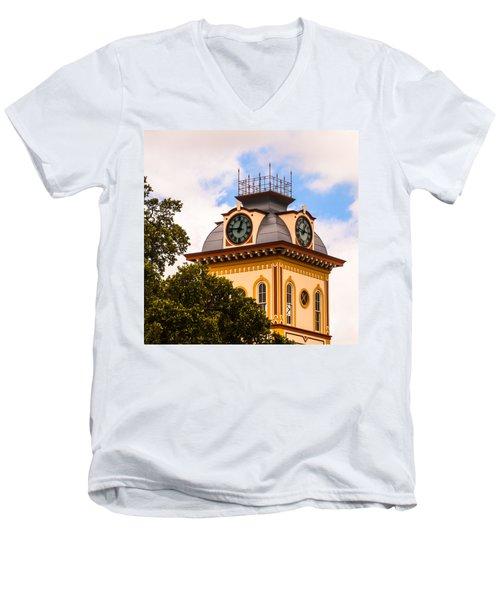 John W. Hargis Hall Clock Tower Men's V-Neck T-Shirt