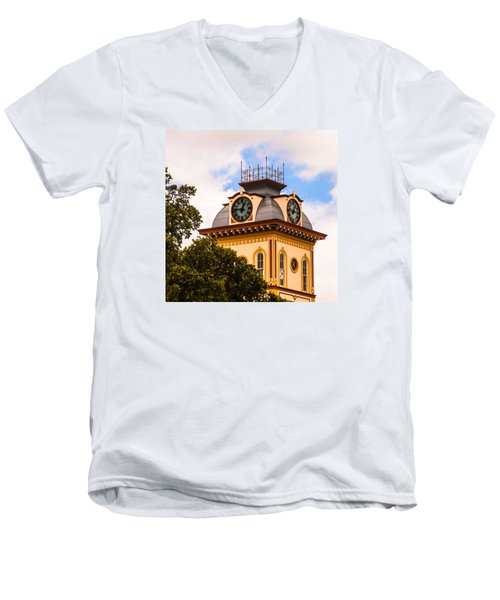 John W. Hargis Hall Clock Tower Men's V-Neck T-Shirt