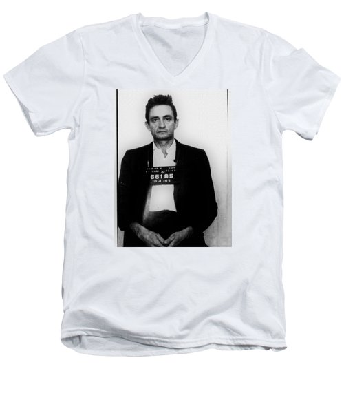 Johnny Cash Mug Shot Vertical Men's V-Neck T-Shirt