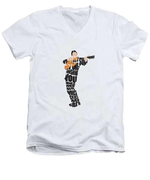Johnny Cash Typography Art Men's V-Neck T-Shirt