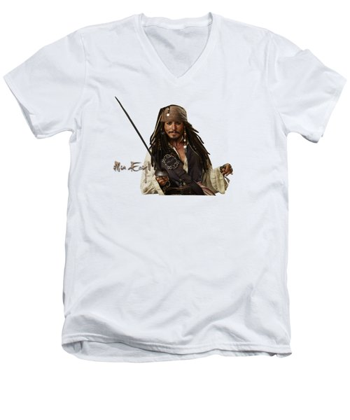 Johnny Depp, Pirates Of The Caribbean Men's V-Neck T-Shirt by Maria Astedt