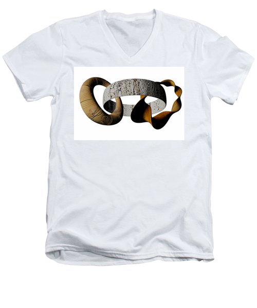 Men's V-Neck T-Shirt featuring the sculpture Join Circles by R Muirhead Art