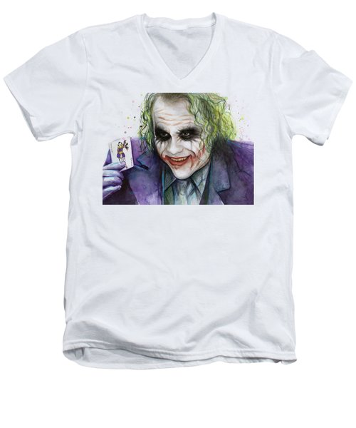 Joker Watercolor Portrait Men's V-Neck T-Shirt by Olga Shvartsur