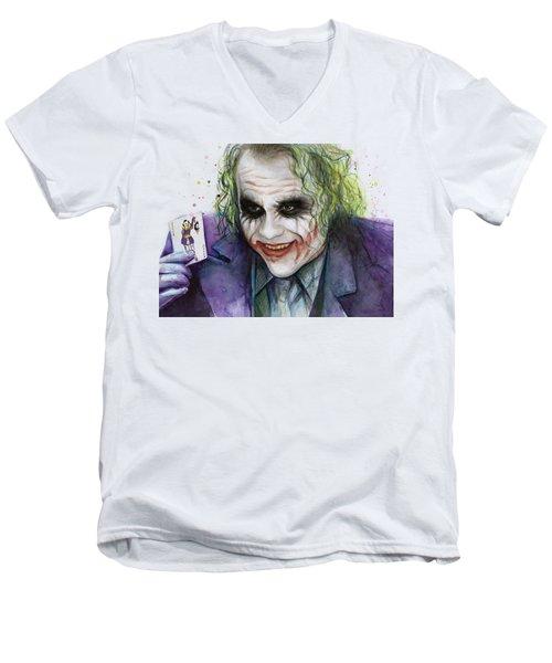 Joker Watercolor Portrait Men's V-Neck T-Shirt