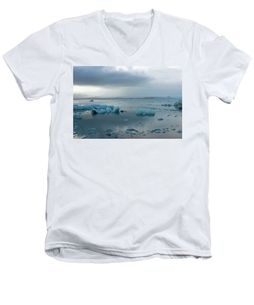 Men's V-Neck T-Shirt featuring the photograph Jokulsarlon, The Glacier Lagoon, Iceland 1 by Dubi Roman
