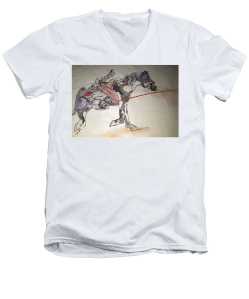 Jousting And Falcony Album  Men's V-Neck T-Shirt by Debbi Saccomanno Chan