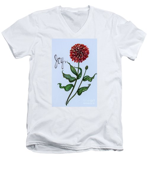 Men's V-Neck T-Shirt featuring the painting Joy by Elizabeth Robinette Tyndall