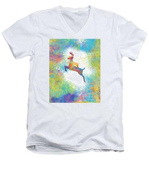 Men's V-Neck T-Shirt featuring the digital art Joyful Leaps by Trilby Cole