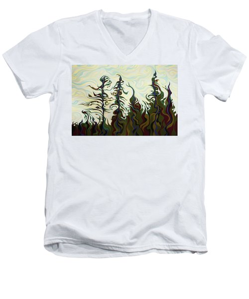 Joyful Pines, Whispering Lines Men's V-Neck T-Shirt
