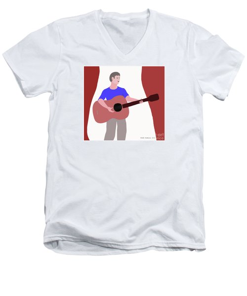 Joyful Young Musician Men's V-Neck T-Shirt by Fred Jinkins