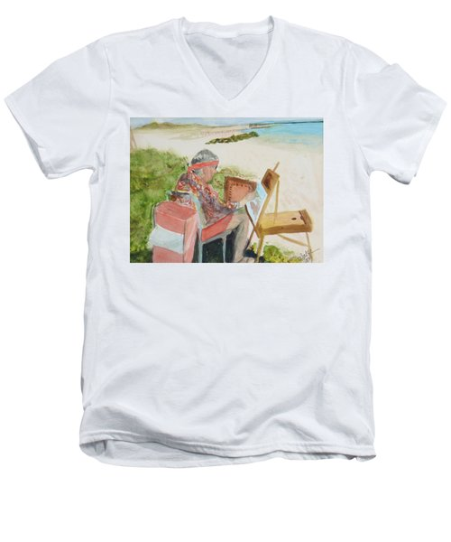 Men's V-Neck T-Shirt featuring the painting Julia Painting At Boynton Inlet Beach  by Donna Walsh