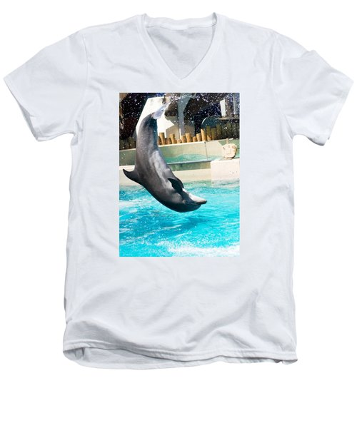 Men's V-Neck T-Shirt featuring the photograph Jumping Dolphin by Bob Pardue