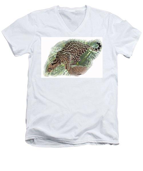 Pouncing Ocelot Men's V-Neck T-Shirt
