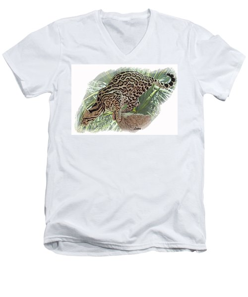 Pouncing Ocelot Men's V-Neck T-Shirt