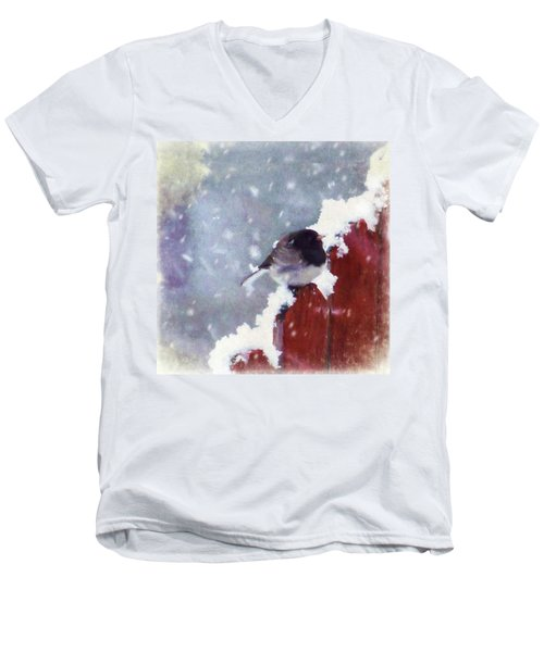 Junco In The Snow, Square Men's V-Neck T-Shirt