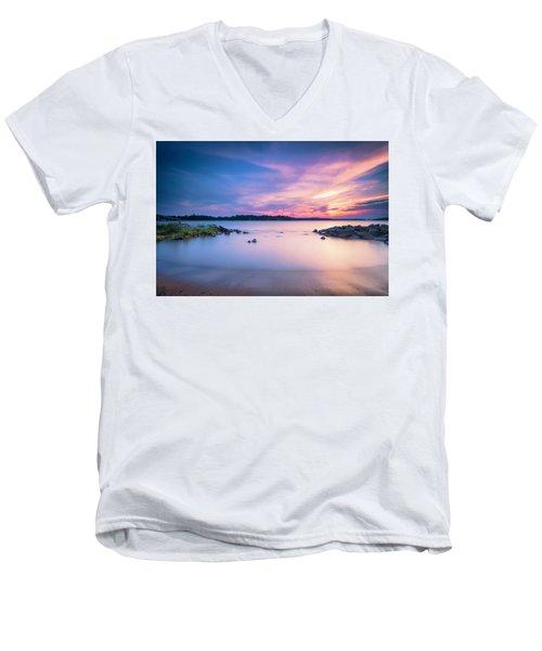 June Sunset On The River Men's V-Neck T-Shirt by Edward Kreis
