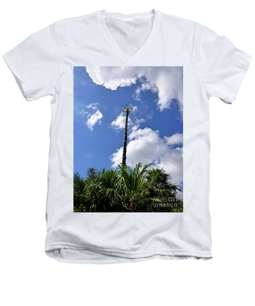 Men's V-Neck T-Shirt featuring the photograph Jungle Bungee Tower by Francesca Mackenney